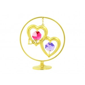 """Divas sirdis ar krāsainiem SWAROVSKI kristāliem un uzrakstu  """"LOVE"""", izmērs - 7*5 cm"""