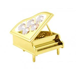 Klavieres ar Swarovski kristāliem, zelta pārklājums, izmērs - 8 x 6 x 10 cm.