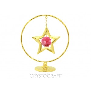 Zvaigzne iekārta ķēdītē aplī, ar SWAROVSKI kristālu, uz pamatnes