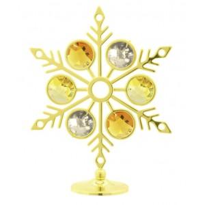 Sniegpārsliņa ar SWAROVSKI kristāliem, uz pamatnes, zelta pārklājums. Izmērs 7 x 10 cm.