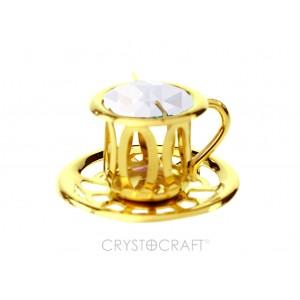 Neliela kafijas tase ar SWAROVSKI kristālu, zelta pārklājums.