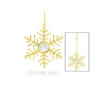 Sniegpārsliņa iekārta ķēdītē, ar SWAROVSKI kristāliem, stiprināms ar piesūcekni, zelta pārklājums. Izmērs 7 x 7 cm, ķēdītes garums-  7.5 cm.