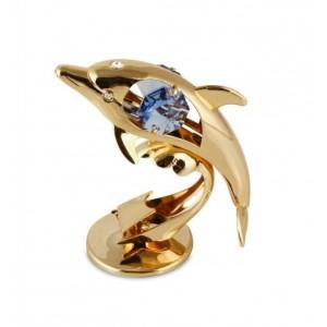Delfīns ar SWAROVSKI kristāliem, uz pamatnes, zelta vai sudraba pārklājums. Izmērs 5 x 7 cm.