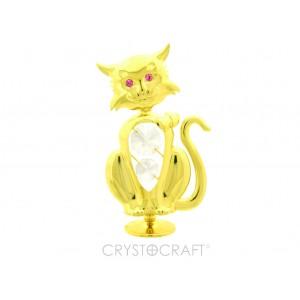 Kaķis ar SWAROVSKI kristāliem, uz pamatnes