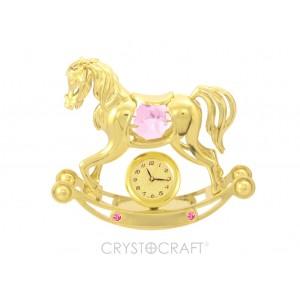 Šūpuļzirdziņš ar pulksteni, ar SWAROVSKI kristāliem, zelta pārklājums.