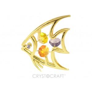Zivs ar SWAROVSKI kristāliem, zelta pārklājums. Izmērs 6 x 9 cm.