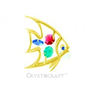 Zivs ar SWAROVSKI kristāliem, zelta pārklājums