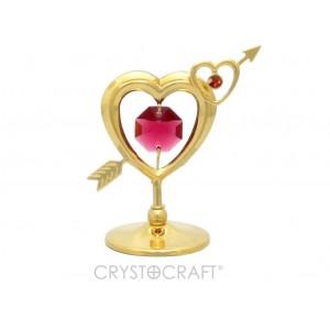 Divas sirdis ar bultu, ar SWAROVSKI kristāliem, uz pamatnes, zelta pārklājums.