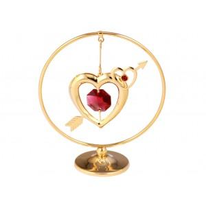 Sirds ar bultu un sarkaniem Swarovski kristāliem, aplī,  izmērs: 7*8 cm