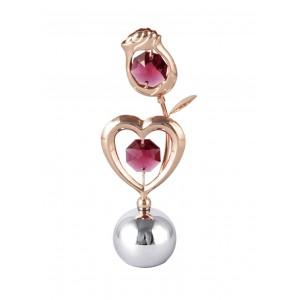 Roze un sirds, ar SWAROVSKI kristāliem, uz lodveida pamatnes, rozā zelta un hroma pārklājums. Izmērs 10x4x2,5 cm.