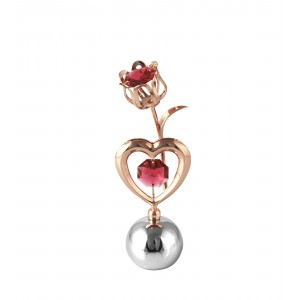 Tulpīte ar sirdi ar SWAROVSKI kristāliem, uz lodveida pamatnes, roza zelta un hroma pārklājums. Izmērs 4 x 9 cm.