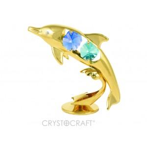 Delfīns ar SWAROVSKI kristāliem, uz pamatnes, zelta pārklājums.