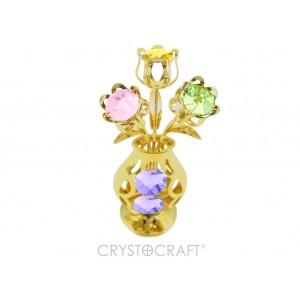 Vazīte ar 3 ziediem, ar SWAROVSKI kristāliem, zelta pārklājums. Izmērs 5 x 5 x 12 cm.