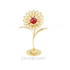 Saulespuķe ar dzelteniem SWAROVSKI kristāliem, uz pamatnes, zelta  pārklājums. Izmērs 4 x 4 x 9 cm.