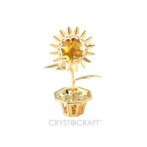 Saulespuķe ar dzelteno Swarovski kristālu, podiņā. izmērs: 2.5 * 6 cm