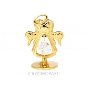Eņģelis ar SWAROVSKI kristāliem, uz pamatnes, zelta  pārklājums. Dāvanu iepakojumā. Izmērs 4 x 5 cm.