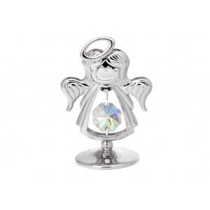 Eņģelis ar SWAROVSKI kristāliem, uz pamatnes, hroma pārklājums. Dāvanu iepakojumā. Izmērs 4 x 5 cm.