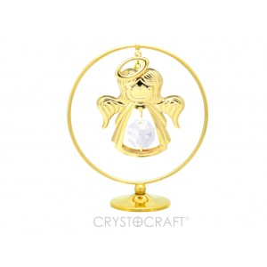 Eņģelītis iekārts ķēdītē aplī, ar baltiem SWAROVSKI kristāliem, uz pamatnes, zelta pārklājums. Izmērs 5 x 7 cm.