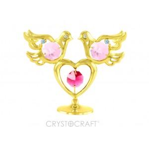Divi balodīši un sirds, ar SWAROVSKI kristāliem, uz pamatnes, zelta pārklājums. Izmērs 7 x 10 cm.