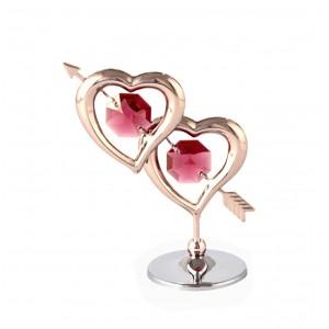 Divas sirdis ar bultu, ar SWAROVSKI kristāliem, uz pamatnes, hroma un roza zelta pārklājums.