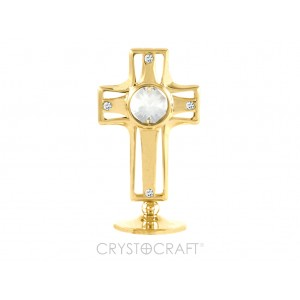 Krustiņš ar SWAROVSKI kristāliem, uz pamatnes, zelta pārklājums. Izmērs 4,5 x 7,5 cm.