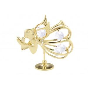 Eņģelis ar SWAROVSKI kristāliem (balti), uz pamatnes, zelta pārklājums.