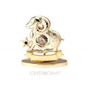 Zodiaka zīme AUNS ar SWAROVSKI kristāliem, zelta pārklājums. Dāvanu iepakojumā. Izmērs 7*6*3 cm.