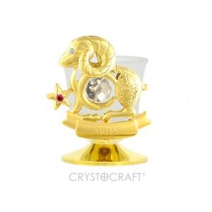 Svečturis ar zodiaka zīmi AUNS, ar SWAROVSKI kristāliem, zelta pārklājums. Izmērs 8,5*8,5*6 cm.
