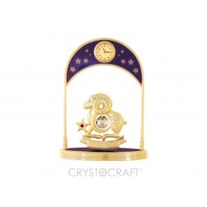Pulksteņi ar zodiaka zīmi AUNS, ar SWAROVSKI kristāliem, zelta pārklājums. Izmērs 10,5*14*5 cm.