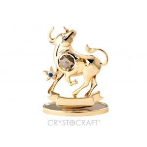 Zodiaka zīme VĒRSIS ar SWAROVSKI kristāliem, zelta pārklājums. Dāvanu iepakojumā. Izmērs 7*6*3 cm.