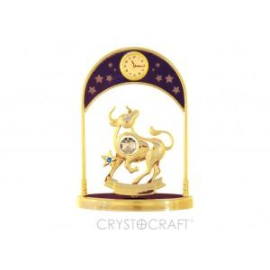 Pulksteņi ar zodiaka zīmi VĒRSIS, ar SWAROVSKI kristāliem, zelta pārklājums. Izmērs 10,5*14*5 cm.