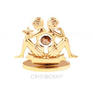 Zodiaka zīme DVĪŅI ar SWAROVSKI kristāliem, zelta pārklājums. Dāvanu iepakojumā. Izmērs 7*6*3 cm.