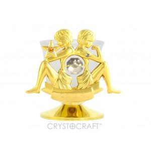 Svečturis ar zodiaka zīmi Dvīņi, ar SWAROVSKI kristāliem, zelta pārklājums. Izmērs 8,5*8,5*6 cm.