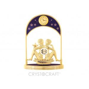 Pulksteņi ar zodiaka zīmi - DVĪŅI, ar SWAROVSKI kristāliem,  zelta pārklājums. Izmērs 10,5*14*5 cm.