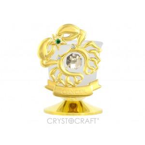 Svečturis ar zodiaka zīmi Vēzis, ar SWAROVSKI kristāliem, zelta pārklājums. Izmērs 8,5*8,5*6 cm.
