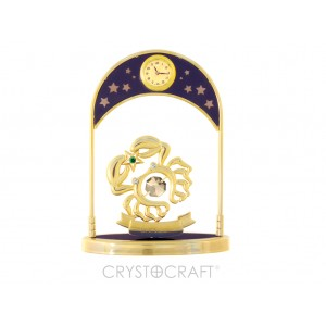 Pulksteni ar zodiaka zīmi Vēzis, ar SWAROVSKI kristāliem, zelta pārklājums. Izmērs 10*4,5*14 cm.