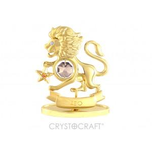 Zodiaka zīme LAUVA ar SWAROVSKI kristāliem, zelta pārklājums. Dāvanu iepakojumā. Izmērs 7*6*3 cm.