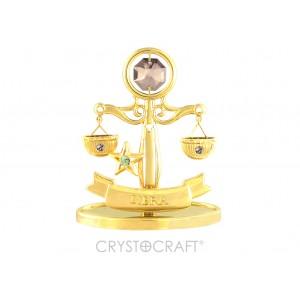 Zodiaka zīme SVARI ar SWAROVSKI kristāliem, zelta pārklājums. Dāvanu iepakojumā. Izmērs 7*6*3 cm.