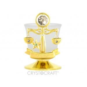 Svečturis ar zodiaka zīmi SVARI, ar SWAROVSKI kristāliem, zelta pārklājums. Izmērs 8,5*8,5*6 cm.