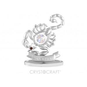 Zodiaka zīme SKORPIONS ar SWAROVSKI kristāliem, hroma pārklājums. Dāvanu iepakojumā. Izmērs 7*6*3 cm.