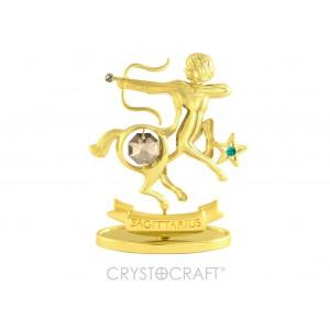 Zodiaka zīme STRĒLNIEKS ar SWAROVSKI kristāliem, zelta pārklājums. Dāvanu iepakojumā. Izmērs 7*6*3 cm.
