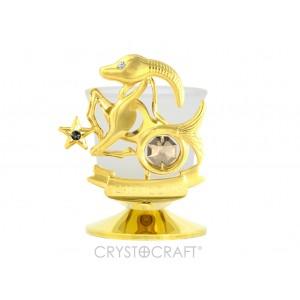 Svečturis ar zodiaka zīmi MEŽĀZIS, ar SWAROVSKI kristāliem, zelta pārklājums 24 karāti. Izmērs 8,5*8,5*6 cm.