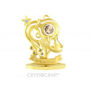 Zodiaka zīme ŪDENSVĪRS ar SWAROVSKI kristāliem, zelta pārklājums. Dāvanu iepakojumā. Izmērs 7*6*3 cm.