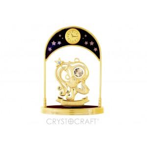 Pulksteņi ar zodiaka zīmi ŪDENSVĪRS, ar SWAROVSKI kristāliem, zelta pārklājums. Izmērs 10*4,5*14 cm.