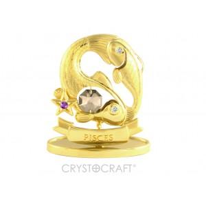 Zodiaka zīme ZIVIS ar SWAROVSKI kristāliem, zelta pārklājums. Dāvanu iepakojumā. Izmērs 7 x 6 x 3 cm.