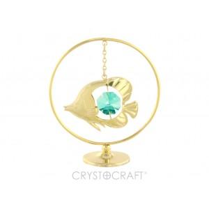 Zivtiņa iekārta ķēdītē aplī, ar SWAROVSKI kristālu, uz pamatnes, zelta pārklājums. Izmērs 5 x 7 cm.