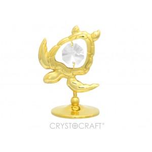 Bruņurupucis ar SWAROVSKI kristāliem, uz pamatnes, zelta pārklājums. Dāvanu iepakojumā. Izmērs 5 x 5 cm.