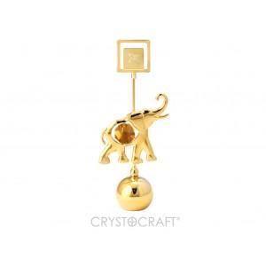 Zilonis ar SWAROVSKI kristāliem, uz lodveida pamatnes, zelta pārklājums. Izmērs 4,5 x 11 cm.