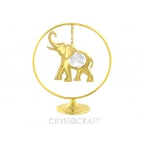 Zilonis iekārts ķēdītē aplī, ar SWAROVSKI kristāliem, uz pamatnes, zelta pārklājums. Izmērs 5 x 7 cm.