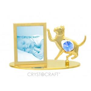 Fotorāmītis ar kaķi, uz pamatnes, ar SWAROVSKI kristāliem, zelta pārklājums. Izmērs 10 x 4,5 x 6,5 cm.